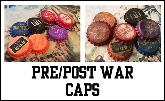 Nuka Cola caps PRE or POST WAR  Set of 7  Fallout inspired