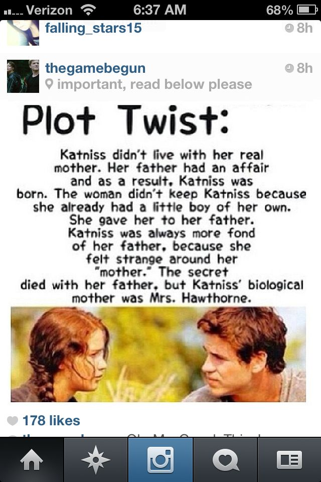 What that is so wrong that means gale shouldn't of liked katniss cuz there half brother and sister ewwwwww
