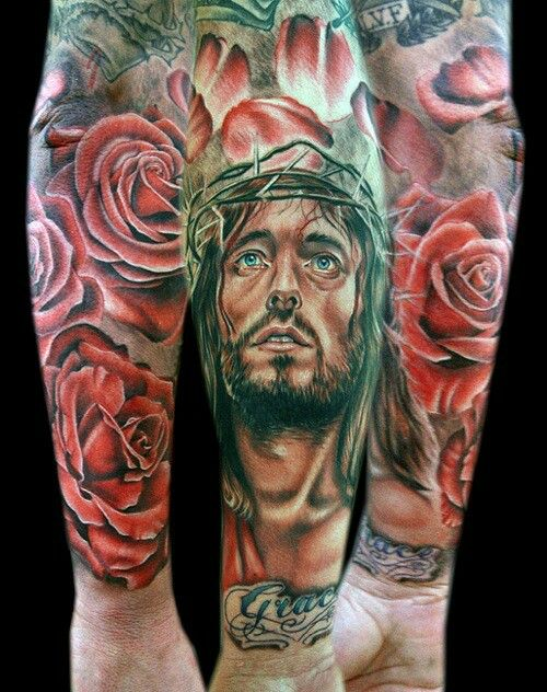 Jesus tattoo catholic roses the Passion of Christ beautiful suffering
