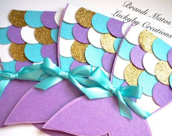 Mermaid Invitations Shell Little Mermaid por ChicInvitationsByCA