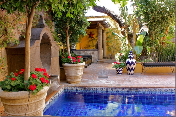 Tiled courtyard pool in San Miguel, Mexico. So beautiful and relaxing to look at.