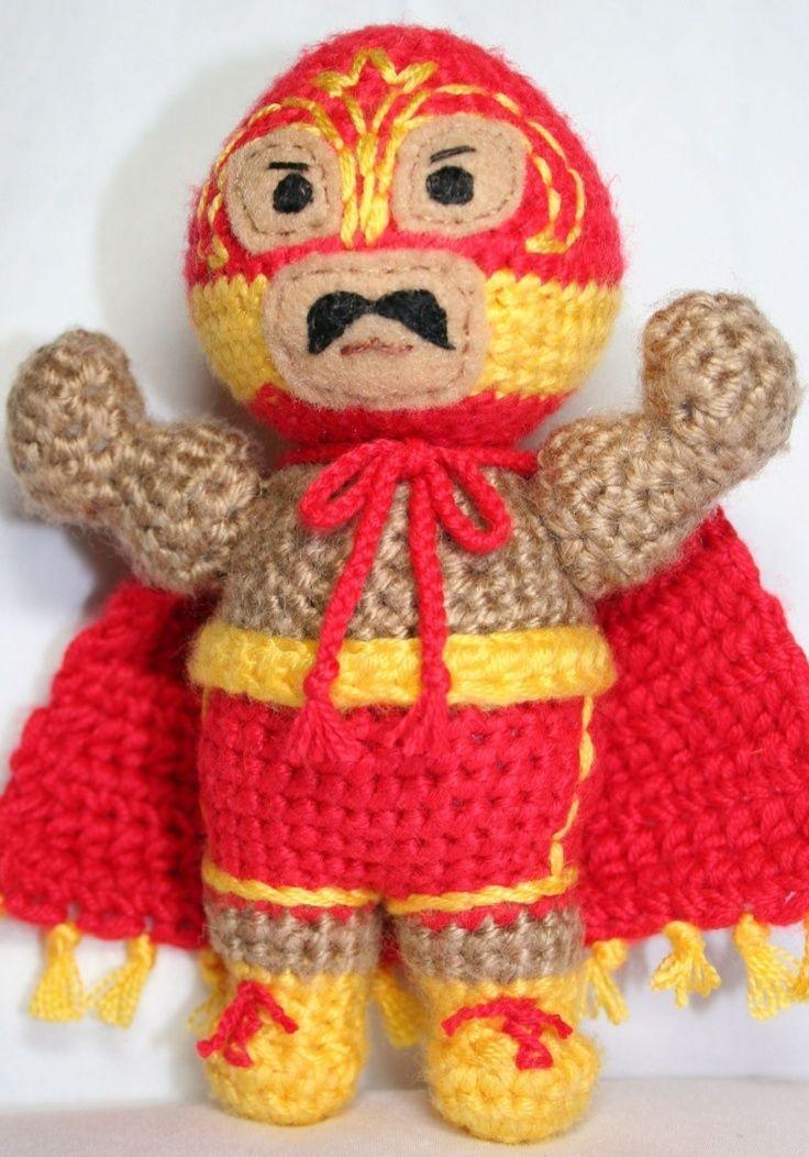 mexican wrestler peg dolls | ... El Ciclon Panzon Luchador/Mexican Wrestler Amigurumi. $5.00, via Etsy