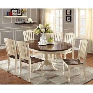 furniture of america bethannie cottage style 2tone oval dining table vintage white u0026 dark oak ivory cream
