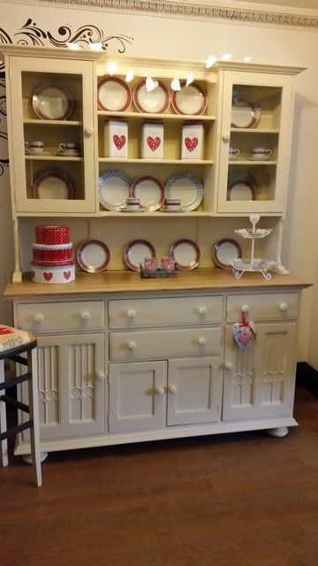 """Absolutely stunning Large Ercol Welsh Dresser!  THIS ACTUAL DRESSING HAS SOLD BUT WE HAVE A FEW OTHER COMING INTO STOCK THAT WE CAN PAINT IN THE COLOUR & STYLE OF YOUR CHOICE  This Welsh dresser has been painted in Annie Sloan's """"Cream"""" and the sideboard has been sanded back and treated - we use the same treatment as real wood kitchen work surfaces so any spillages won't mark like waxed tops will!   All painted areas have been waxed to protect the paint and then buffed to give it a nice…"""