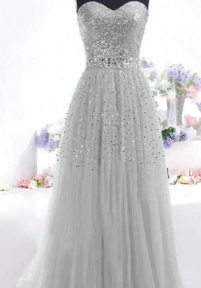 58ef9958d Grey Patchwork Bandeau Sequin Grenadine Sleeveless Fluffy Puffy Tulle Maxi  Dress