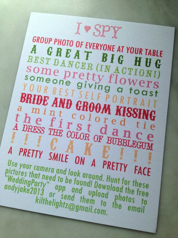 I Spy Wedding Game to entertain guests and get fun candid photos!