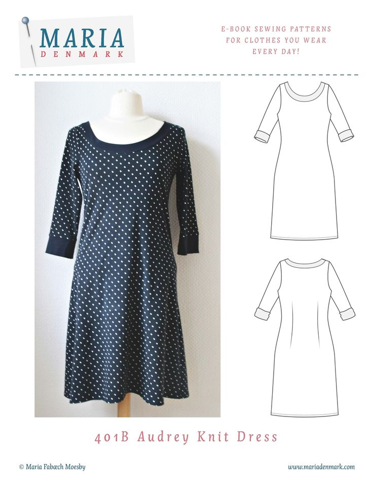 MariaDenmark Audrey Knit Dress sewing pattern is a pattern for a simple jersey dress with subtle details. Download now - start sewing in an hour!