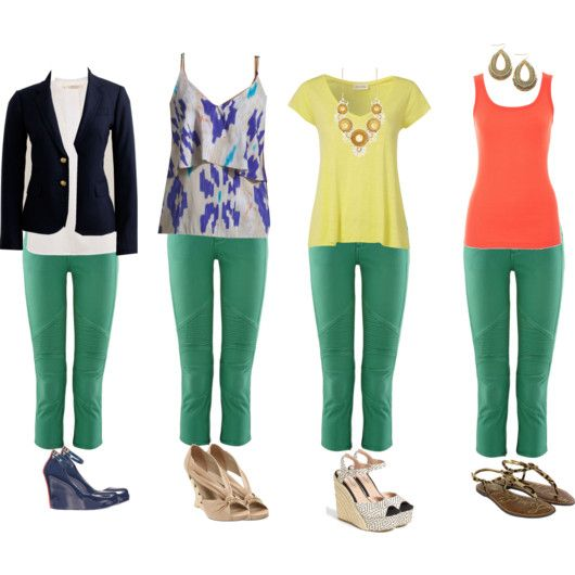 ways to style my new green pants! i bought these same pants from loft!