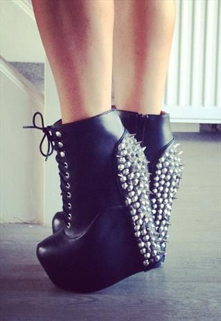 Damsel Black Spiked Wedge Boots £149.99
