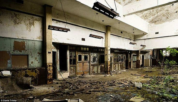 The interior of the U.S. Post Office building in Gary, Indiana reveals what happens when nature is left to attack buildings built by man
