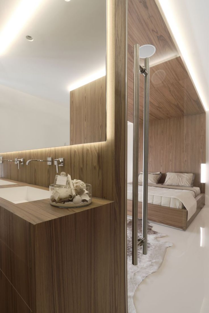 Private house in Penteli/Athens by Omniview #architecture #interior #bathroom #master #bedroom #wood #veneer