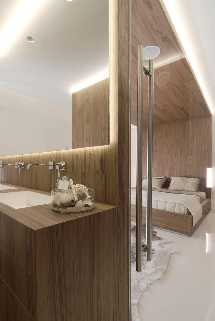 Private house in Penteli/Athens by Omniview #architecture #interior #bathroom #master #bedroom #wood #veneer