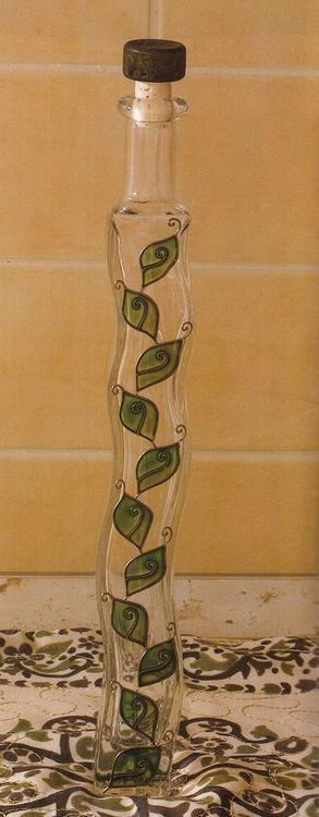 Obiecte vopsite din sticla - Sticla ondulata cu motiv verde
