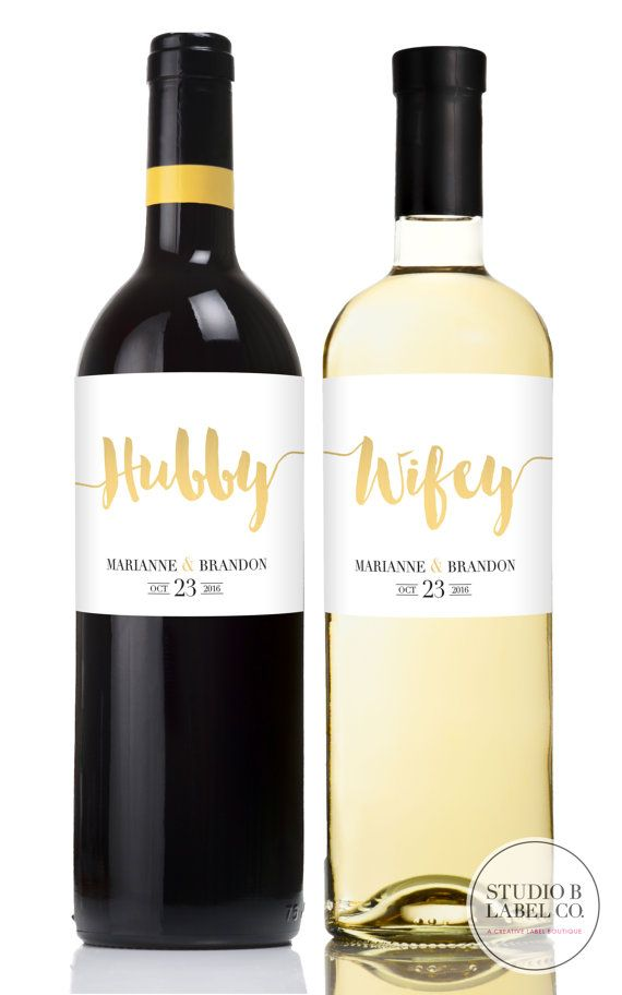 Wedding Gift Wine Labels  Hubby and Wifey  Mr and by StudioBLabels
