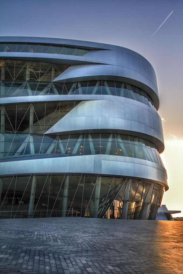 The Mercedes-Benz Museum is the only museum in the world that can document in a single continuous timeline over 125 years of automobile history from its very beginnings to the present day. The building's interior is inspired by the double helix structure of the DNA spiral that carries the human genome. This in turn illustrates the Mercedes-Benz brand's philosophy – to continuously create radically new products to advance the cause of human mobility. Courtesy: Geo Messmer #500px