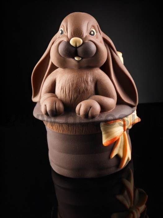 """Moule d'Œuf de Pâques """"Lapin dans le Chapeau Magique"""" - moule à Chocolat LINEAGUSCIO pour Œuf de Pâques - Moule d'Œuf de Pâques Lapin dans le Haut-de-forme -"""
