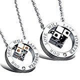 #6: MFYS Jewelry ペアネックレス ファッション メンズ レディース カップル ルービック・キューブ キューブ ペンダント リング ネックレス(チェーン付ペンダント) 【ジュエリーBOX付】