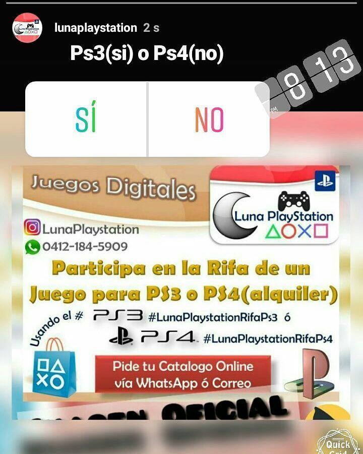Como Participar en la rifa de un juego para ps3 o ps4?... Publica la Imagen Oficial para inscribirte y participar  con la Etiqueta  @LunaPlaystation y etiqueta 3 amig@s mas y el  #LunaPlaystationRifaps3  ó  #LunaPlaystationRifaps4  y Participa por 1 juego digital para ps3 o ps4 (de acuerdo a tu etiqueta juego aplica)  Pide la imagen via whatsapp o desde nuestro catalogo  Rifa sábado 31 de marzo  Pide tu catalogo Online via whatsapp o correo electronico #ps3 #ps4 #juegosdigitalesps3 #rifaps3…