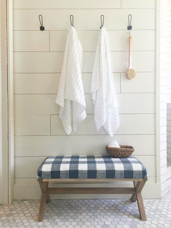 Farmhouse master bathroom | master bathroom design | rustic wood vanity | white vessel sinks | nautical mirrors | master bathroom remodel | bathroom design | farmhouse bathroom