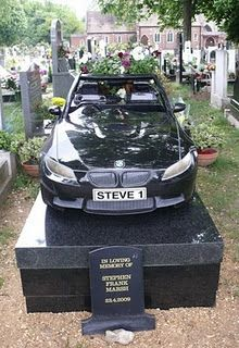 Granite BMW Car Monument, Manor Park cemetery in London. There's something disturbing about this!