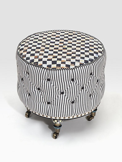 Underpinnings Small Drum Ottoman   MacKenzie Childs (Furniture Fit For An  Empire Chair / Ottoman Fabric Modern Pattern Upholstered Nailhead Trim  White Black ...