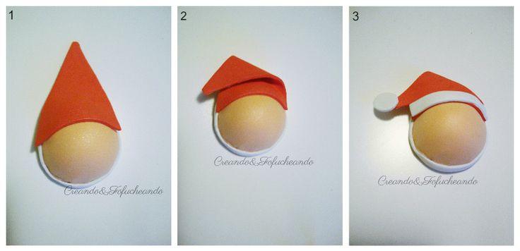 Gorro de Papá Noel paso a paso para corona de Navidad con Goma eva y papel crespón
