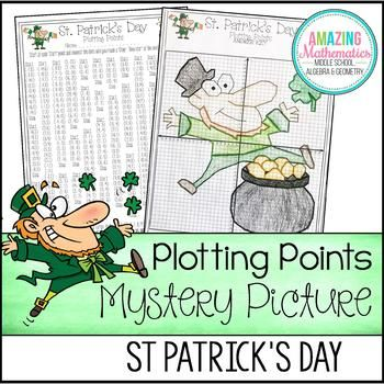 This St Patricks Day themed coordinate graphing activity will strengthen your students skill in graphing ordered pairs in all four quadrants.  The ordered pairs in this activity are in all four quadrants and are all integers (no decimals).  Activity includes:Blank Coordinate Grid (with & without numbers)Ordered Pairs to be graphedSample completed activityPlease view the preview to view the completed activity/picture.Similar ActivitiesoClick Here for more Plotting Points Mystery PicturesTh...