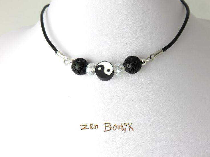Collier Ras du Cou, Collier Zen Yin Yang, Bijoux Zen Boutik, Cadeau Zen Ying Yang Tao : Collier par zenboutik