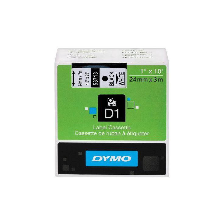 Dymo D1 Standard Tape Cartridge for Dymo Label Makers, 1in x 23ft, Black on White