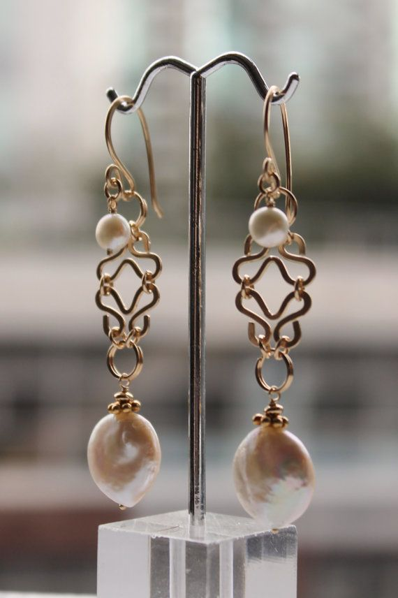 Fancy Filigree Gold Dangle Earrings with by LeahYardDesigns, $210.00