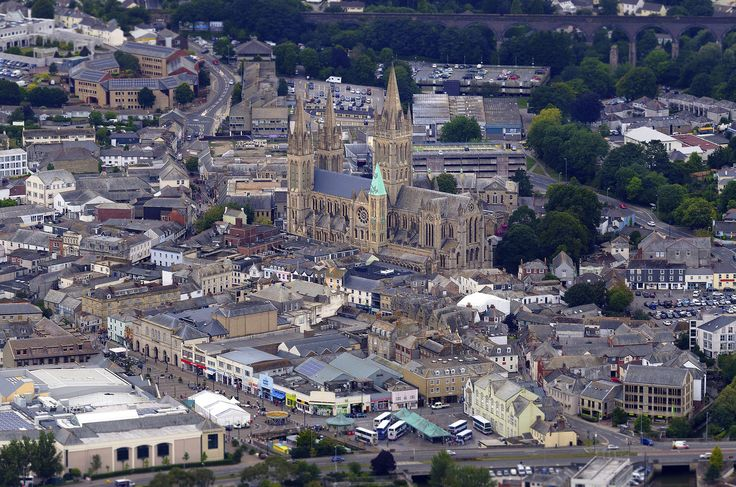 Truro city centre aerial view by John Fielding #truro #city #aerial #cornwall #cathedral