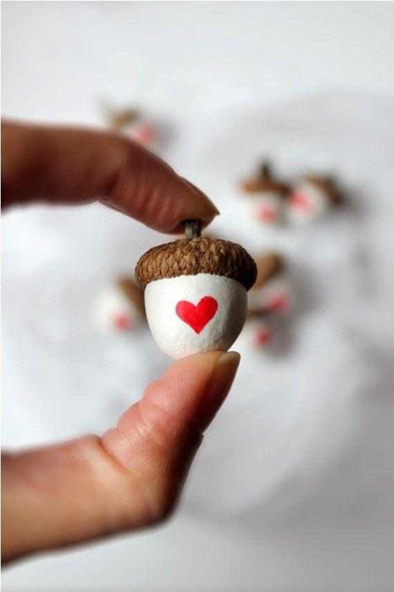 Heart Acorns With real acorn caps by Morado