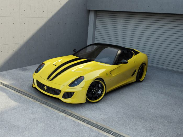 A #stunning look for this #Ferrari 599 GTO, we chose a #yellow total #covering with #matte #black #stripes, the #rims are also covered by black and yellow ;)