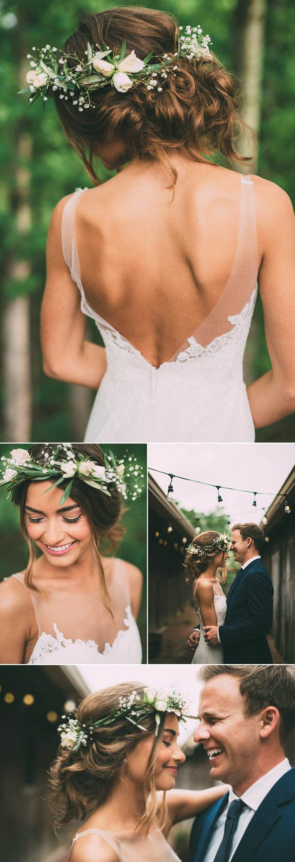 Messy bridal updo with floral crown | Image by The Image Is Found
