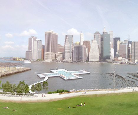 A floating swimming pool designed for New York .