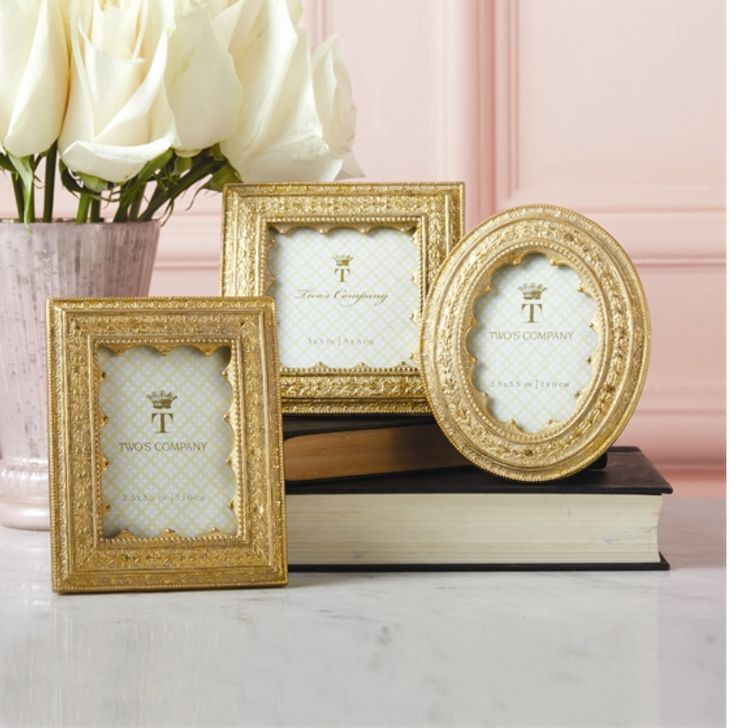 Vermeil Ornate Photo Frames 3 Assorted Photo frames. Rectangle, Oval and Square.