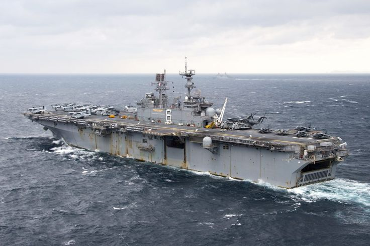SEA OF JAPAN: The amphibious assault ship USS Bonhomme Richard (LHD 6) transits the Sea of Japan. (U.S. Navy photo by Mass Communication Specialist 2nd Class Diana Quinlan/Released)