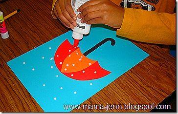 Umbrella Craft w/glue Raindrops