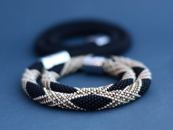 Black and Gold Bead Crochet Rope Beaded Necklace by Chudibeads