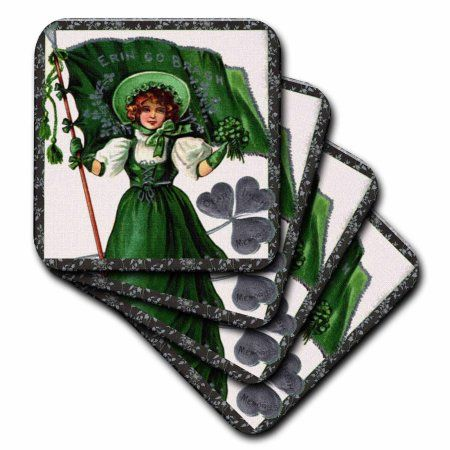 3dRose Erin Go Braugh, Irish Lady and Flag (Vintage), Ceramic Tile Coasters, set of 4