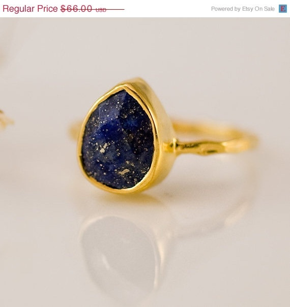 CYBER MONDAY SALE  18K Gold Vermeil Ring  Lapis Ring   by delezhen, $58.08