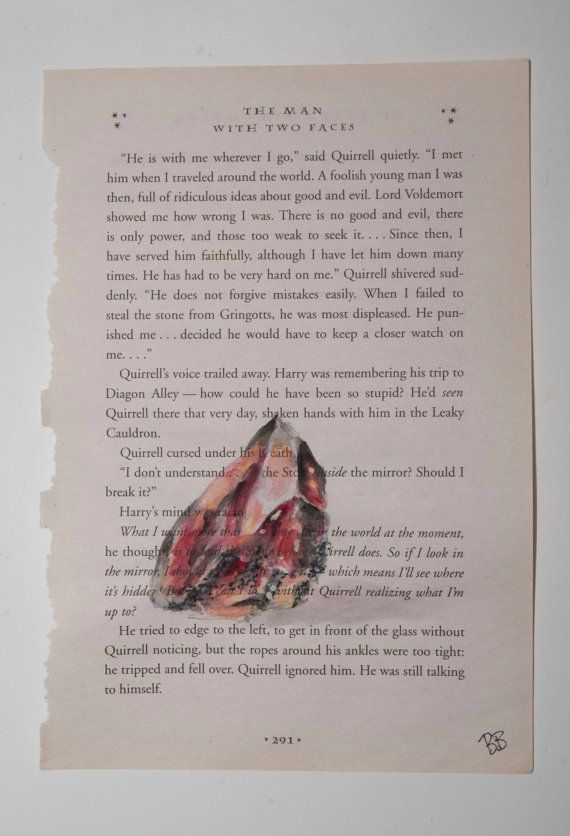 Harry Potter Book Lengths Pages ~ Original watercolor harry potter book page sorcerer s