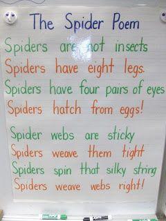 Spider Poem- kindergarten buddies