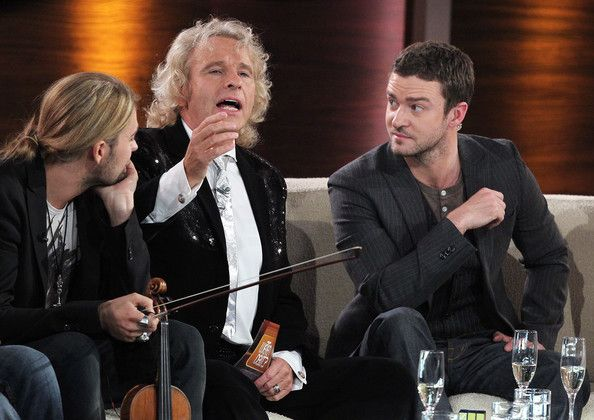 """David Garrett - , TV host Thomas Gottschalk and actor and singer Justin Timberlake attend the 198th """"Wetten, dass...? show at Messe Leipzig on November 5,2011 in Leipzig, Germany."""
