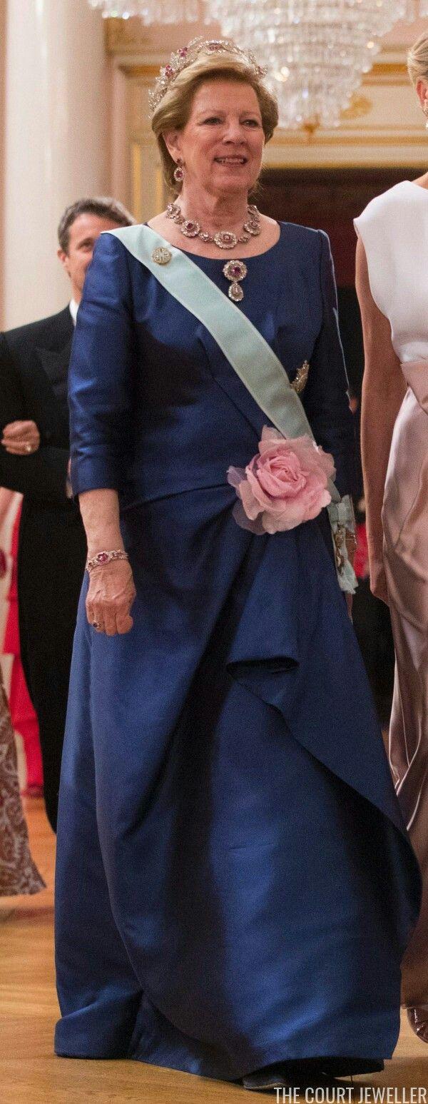 Queen Anne-Marie Of Greece Wearing The Greek Family's Ruby Parure.