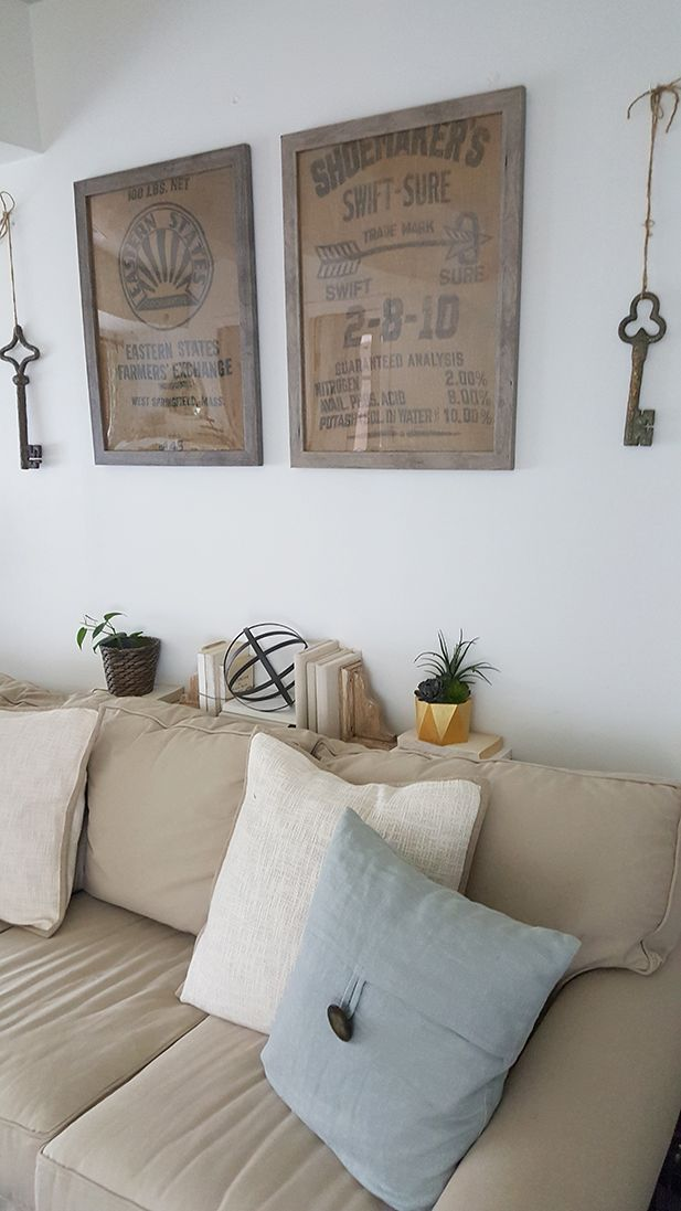 Farmhouse DIY Wall Art Ideas - Framed Burlap.