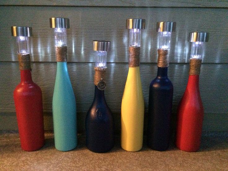 Best 25 wine bottle lanterns ideas on pinterest bottle for Diy solar wine bottle lights