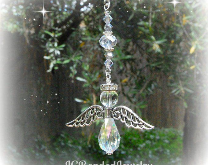 Gift Idea New Hanging Car Charm ~ Sun Catcher Guardian Angel Wing ~ Memorial