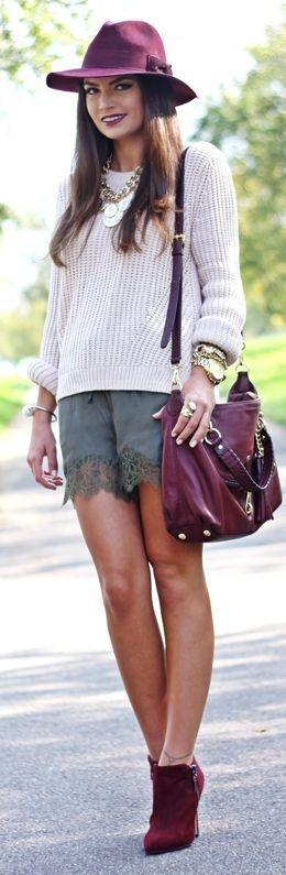 Khaki Lingerie Inspired Lace Trim Shorts - Bohemian, Boho Chic And Hippie Fashion