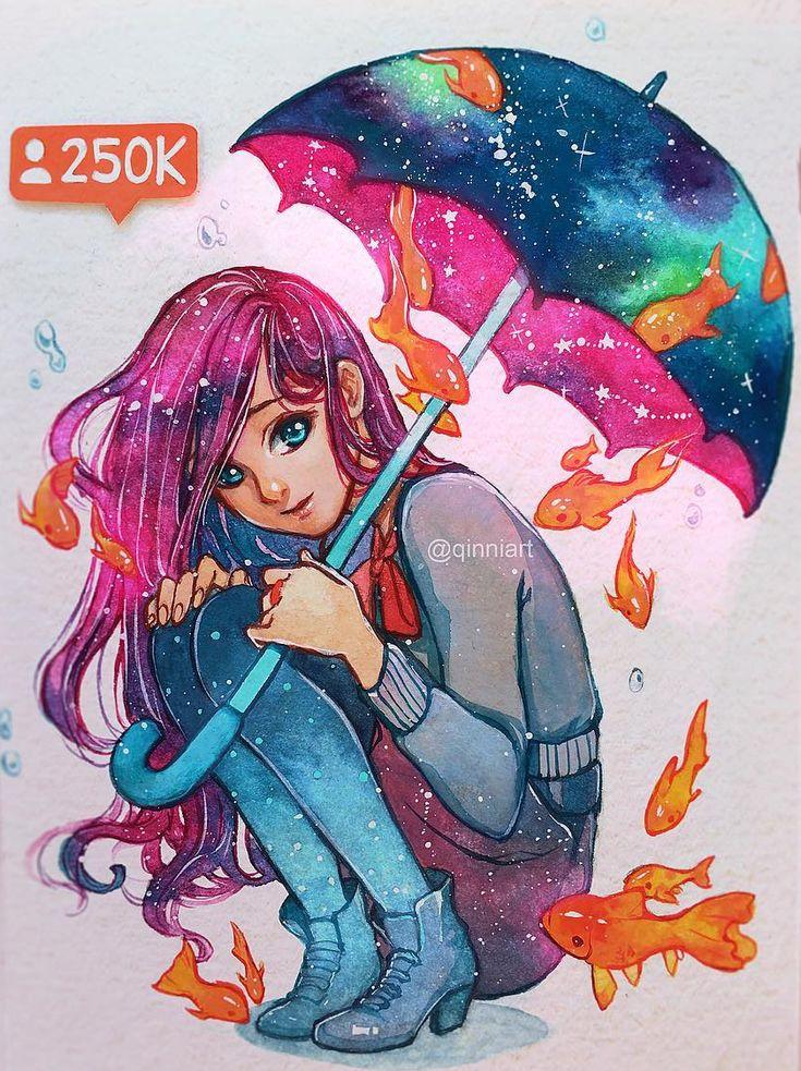 Rain Qinni Watercolor 2016 #art #design #artworks